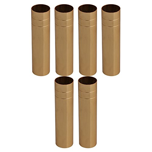 RDEXP 100mm Long 25mm Dia Golden Double Line Chandelier Candle Light Cover Sleeves Socket Candelabra Base Set of - Candle Light Chandelier Seven