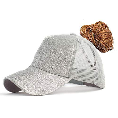 FGSS Adjustable Ponytail Messy Buns Sequined Baseball Hat -