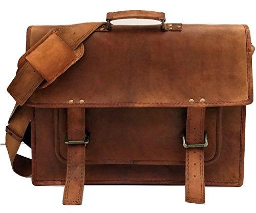 Urban Dezire 18 Inch Vintage Handmade Leather Messenger Bag for Laptop Briefcase Satchel Bag