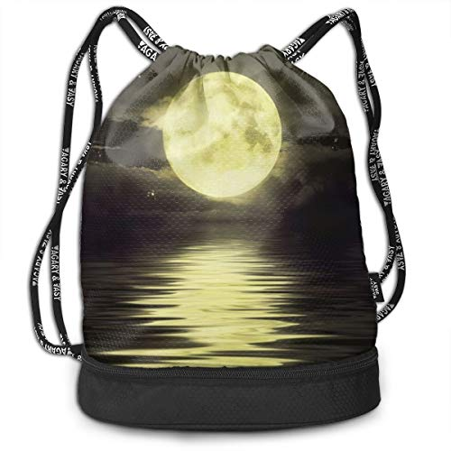 Portable Bundle Backpack, Sparkly Moon Night Art Drawstring Bag For Girls & Boys, Gym Yoga Runner Sports Daypack]()