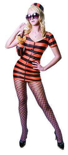Sexy Princess in Prison Costume Set - Orange Stripes - Super Low Closeout Price (Princess In Prison Costume)