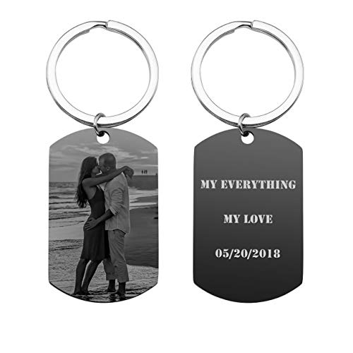 JOVIVI Personalized Custom Engraved Photo/Text Stainless Steel Dog Tag Keychain