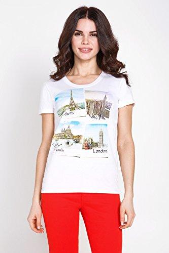 bestia weißes Top für Damen Kurzarm elegantes Shirt Damenoberteil �?Modell Space - Weiß gemustert bedruckt Oberteil Top Sommer edel
