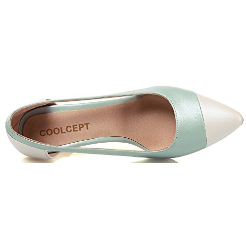 Coolcept Dames Hoge Hak Pumps Spitse Neus Uitsparingen Stiletto Schoenen Elegant Voor Dames Blauw