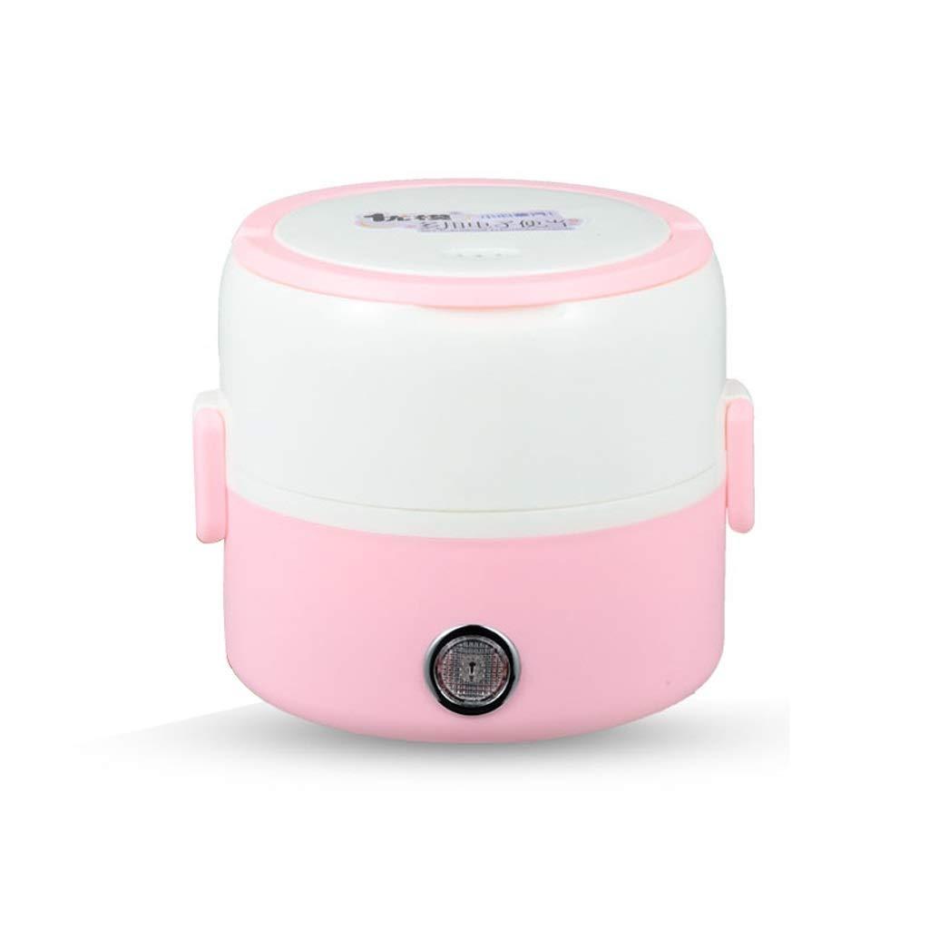 Fiambrera El/éctrica,Calentador Port/átil De Comida para El Almuerzo Mini Vaporizador De Arroz con 2 Contenedores Extra/íbles De Acero Inoxidable Color : Pink1, Tama/ño : 2L