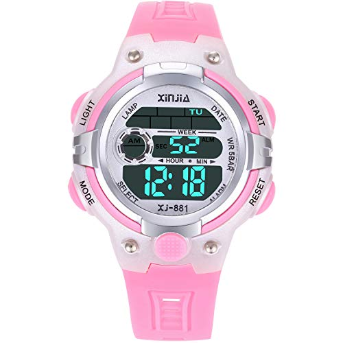 Kids Digital Watch,Boys Girls Sports Outdoor LED 50M(5ATM) Waterproof Multi Functional Wrist Watches with Alarm for Children (Pink)