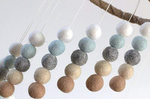 Spiral Felt Ball Nursery Ceiling Mobile- Ice Blue, Tan, Gray & White