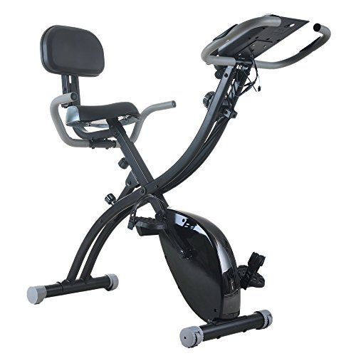 FCH Recumbent Bike Exercise Bike Stationary Bicycle Cardio Workout Fitness Bicycle Equipment Household Magnetic Bike Folding Upright Bike with Backrest & Armrest & Rowing Machine