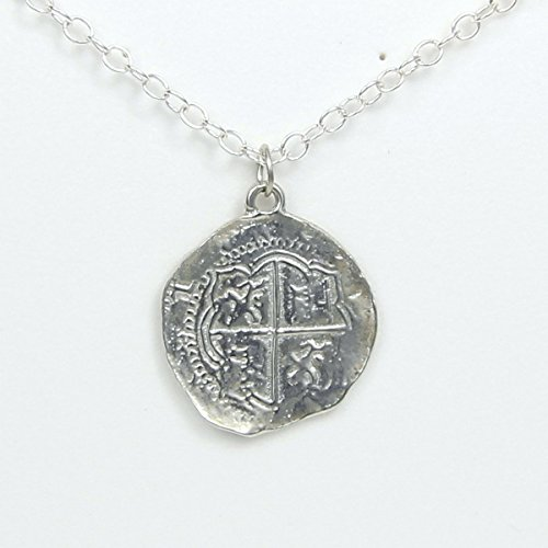 Pirate Pieces of Eight Coin Necklace - Pewter Replica of Spanish Coin - Handcrafted in USA Eight Pendant Necklace