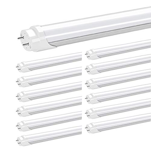 JESLED T8 4FT LED Tube Light Bulbs, 24W 5000K Daylight, 3000LM, 4 Foot T12 LED Replacement for Flourescent Tubes, Ballast Bypass, Dual-end Powered, Frosted, Garage Warehouse Shop Lights - Inch 4 Lamp T5 48
