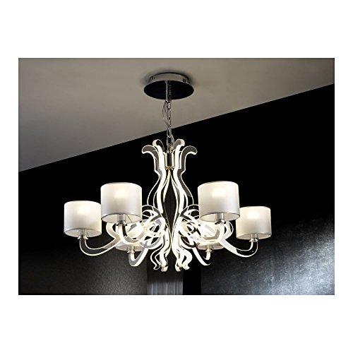 Schuller Spain 780437I4L Modern Chrome Ceiling Chandelier shade pendant light opal 6 Light Dining Room, Living Room LED | ideas4lighting by Schuller