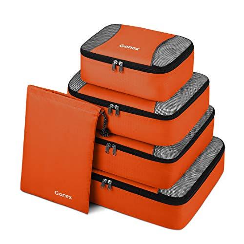 Gonex Packing Cubes Travel Luggage Organizer with Shoe Bag (Orange) ()