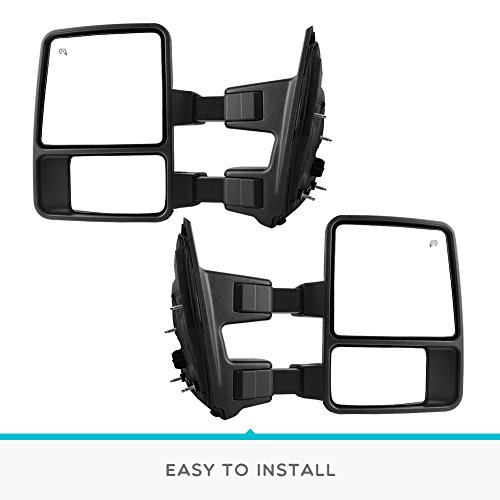 Pair Set YITAMOTOR Towing Mirror Compatible for Ford F250,Power Heated with LED Signal and Side Marker Lights Tow Mirrors F450,F550 Super Duty Series Pickup for 2008-2016 Ford F250,F350
