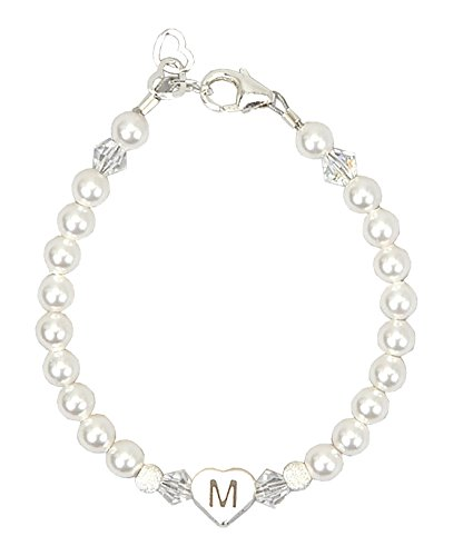 Personalized sterling silver heart initial baby child bracelet with Swarovski Crystalsand White simulated Swarovski Pearls - Bracelets Crystal Baby Sterling