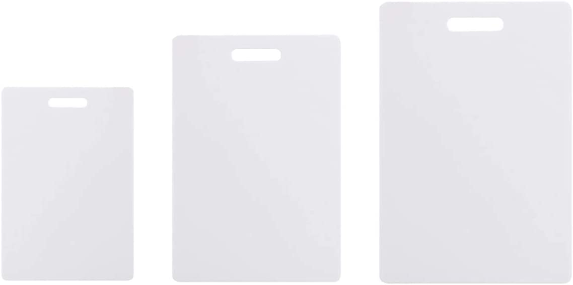 Plastic Cutting Board(3-Piece Set),Thick Chopping Board,Food Safe PP Material,BPA Free,Dishwasher Safe, Non Porous,Easy Grip Handle,Chef,Kitchen,Professional, White