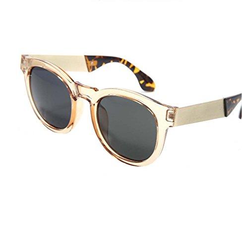 Female drivers driving sunglasses glasses big box myopia retro round sunglasses tide Men (Champagne - Cartier Round Glasses