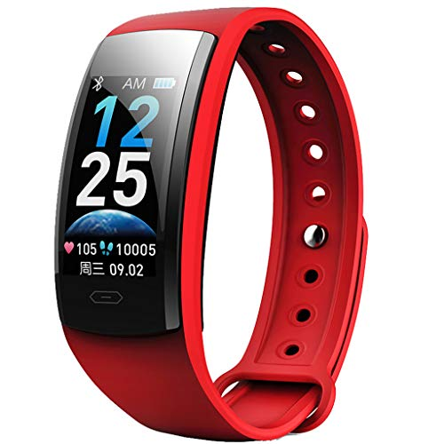 Meidexian888 Smart Wristband for iOS Android, Blood Pressure Heart Rate Sleep Monitor Remote Camera Waterproof Fitness Watch (Red)