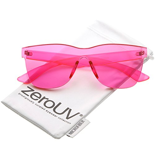 zeroUV - Rimless Horn Rimmed Colorful One Piece PC Lens Mono Block Sunglasses 68mm (Hot Pink)