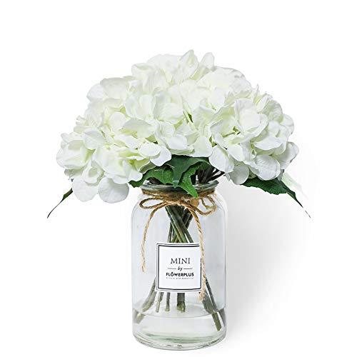 2 Bundles Artificial Hydrangea Fake Silk Flower Bouquet Wedding Centerpieces Home Garden Decor (White)