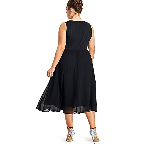 Femme Couleur Plus Flowy Cocktail Robe Rond Manches Solide Mince Dress Robe Demi sans Partie Glittery lgant Habiller Size t Col Soire SORn6vnd1
