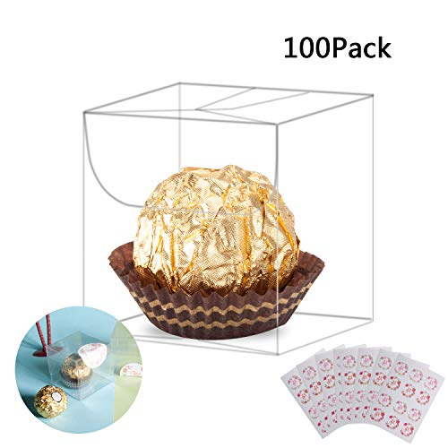 Yunko 100 Pcs Clear Favor Boxes Plastic Gift Boxes PET Transparent Boxes for Wedding, Party, Birthday Present, Candy, Jewelry with Free Stickers