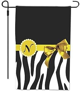 "Rikki Knight Letter "" N "" Yellow Zebra Bow Monogram Design Decorative House or Garden Full Bleed Flag, 12 by 18-Inch"