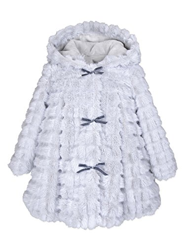 Widgeon Baby Girls Hooded 3-Bow Faux Fur a-Line Coat 3704, Wfv/Lavender Waffles, 6 Months