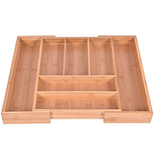 NEW Spoon Drawer Organizer, Bamboo Kitchen Drawer Organizer Expandable Tableware Storage Box Spoon Container, Ovarall Size:11.8