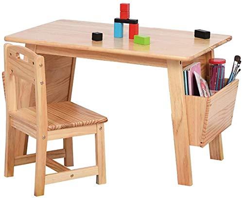 LYYJIAJU skrivbord för barn bord och stol set massivt trä barnbord och stolsset (barnmöbler) målning/lek/skrivande, förskola studierum bord med förvaring