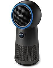 Philips 3-in-1 Luchtreiniger, ventilator en verwarming - Zuivert de lucht in kamers tot 42 m² - Clean Air Delivery Rate-165 m³/u - Luchtkwaliteitssensor en temperatuurstatus - AMF220/15 - Metaal/Zwart