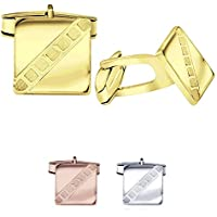 Sterling Manufacturers Men's Sterling Silver .925 Square Cufflinks with Satin Finish Check Accents, Engravable, 14mm. By