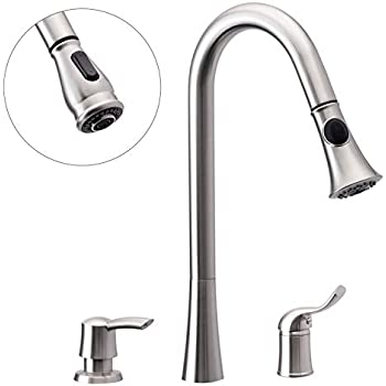 3 Hole Kitchen Sink Faucet With Pull Down Spray Side Single Handle