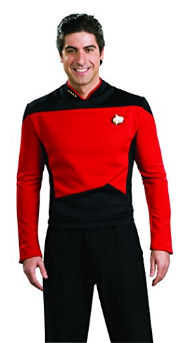 [Star Trek Next Generation Uniform COMMANDER RED Adult Size Costume T-Shirt (S)] (Red Star Trek Dress)