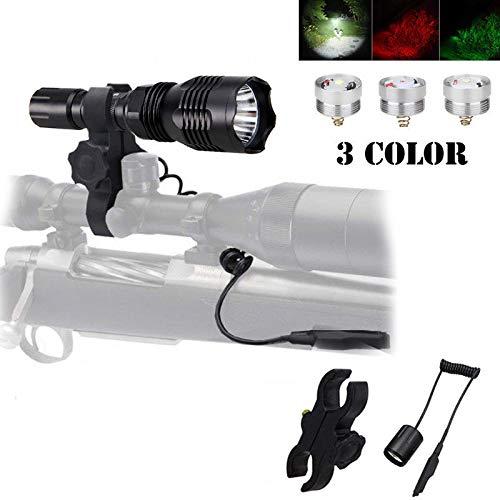 AE - Linterna de caza con luz roja con luz verde y luz blanca LED y interruptor remoto