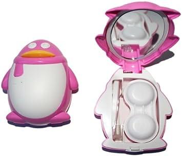 Funda de juego de estuche para lentillas contenedor de almacenaje espejo dulce pingüino - Colour rosa: Amazon.es: Salud y cuidado personal