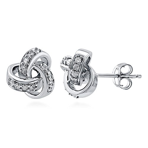 BERRICLE Rhodium Plated Sterling Silver Cubic Zirconia CZ Love Knot Stud (0.24 Ct Earring)