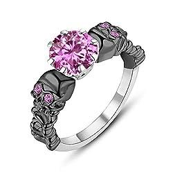 Women's Pink Saphire Skull Ring