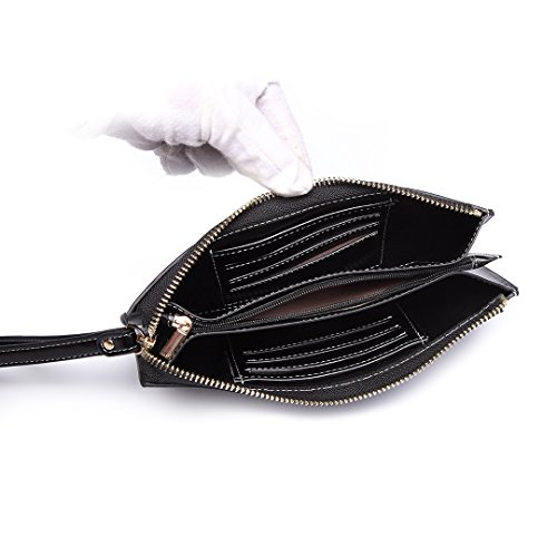 Purse Leather Holder Women inch 5 Pouch Smart For Bag Bags Black Wallets Roomy Hand PU with Zipper 5 Fashion Clutch Lulu Pocket Miss phone Card Wristlets wIqzz7