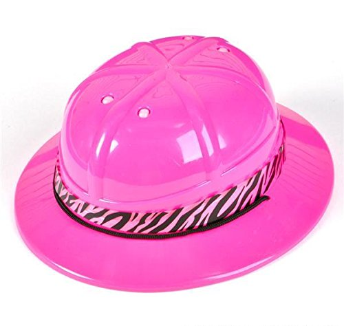 PINK SAFARI HAT WITH ZEBRA BAND, Case of 24