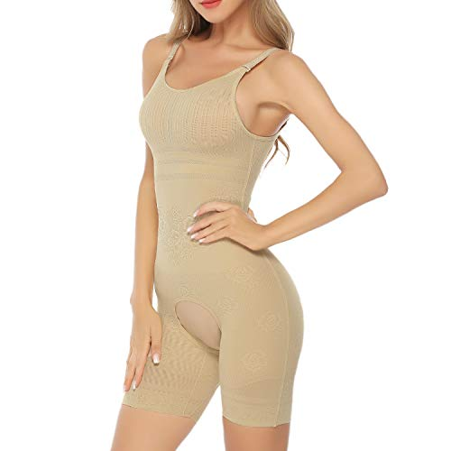 (Hawiton Women Tummy Firm Control Bodysuit Shapewear Seamless Mid Thigh Slimmer Body Shaper Crotch Open Beige)