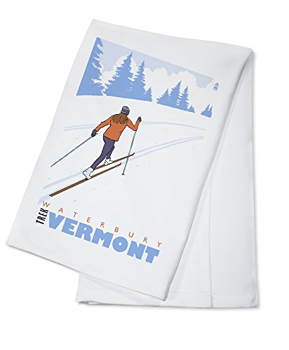 Waterbury Towel - Cross Country Skier - Waterbury, Vermont (100% Cotton Kitchen Towel)
