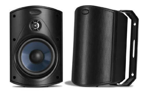 Polk Audio Atrium 4 Outdoor Speakers with Powerful Bass (Pair, Black) | All-Weather Durability | Broad Sound Coverage | Speed-Lock Mounting System (Renewed)