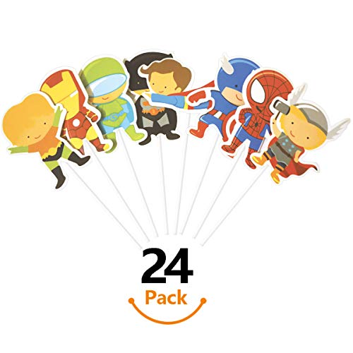 KUDES 24 Pieces Cartoon Superhero Avengers Cupcake Topper Picks for Boy Children Kids Birthday Party Cake Decoration Supplies -