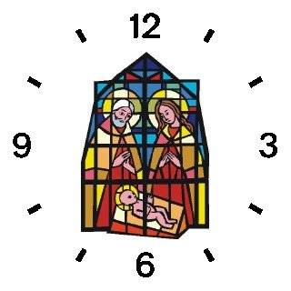 The Christ Child, Mary & Joseph (Stained Glass) No.1 Christian Theme - WATCHBUDDY DELUXE TWO-TONE THEME WATCH - Arabic Numbers - Brown Leather Strap-Children's Size-Small ( Boy's Size & Girl's Size )