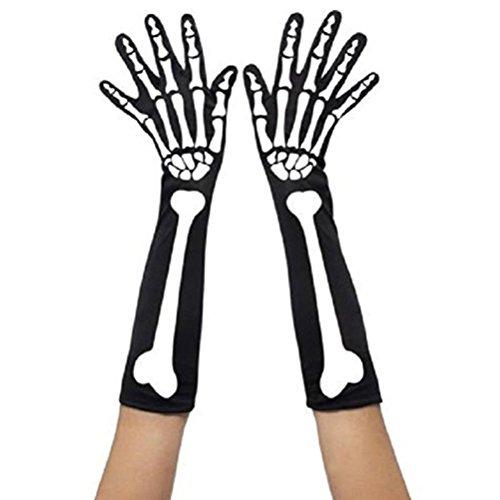 TINKSKY Unisex Winter Skull Skeleton Printing Halloween Long Arm Warmer Gloves Costume Accessory For Halloween Horror Nights 60cm
