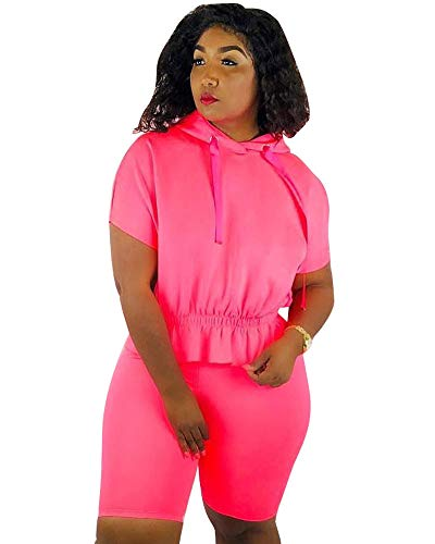 (Women Sexy Two Piece Outfits - Pink Short Sleeve Tops with Hoodies Bodycon Jumpsuits Rompers XL )
