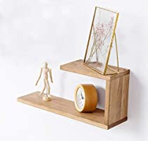 INMAN Wooden Floating Bookshelves Wall Mounted Shelf, U Shaped Display Floating Shelves Small Photos Awards Picture...
