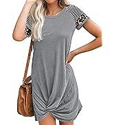 Nirovien Womens Summer Short Sleeve T Shirt Dress Color Block Twist Knot Dresses Leopard Print Be...