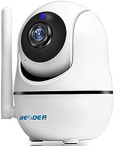 بيسدر كاميرا  أمان منزلية واي فاي عالية الدقة 1080 مع خاصية الميلان الرأسي والعامودي، نقل الصوت ثنائي الإتجاه، وأشعة تحت الحمراء للرؤية الليلية