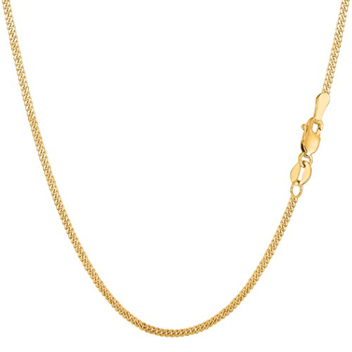 14k Gourmette Chain (14k Yellow Gold Gourmette Chain Necklace, 1.5mm, 18